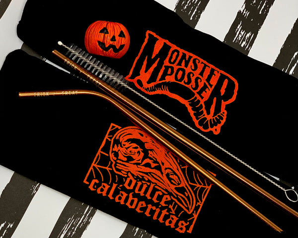 Dulce Calaveritas X Monster Posse - Trick r Treat straw set