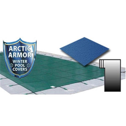 Arctic Armor 18' x 36' Ultra Light Solid Safety Cover w- 4' x 8' Left Step Section - Blue-Aqua Supercenter Outlet - Discount Swimming Pool Supplies