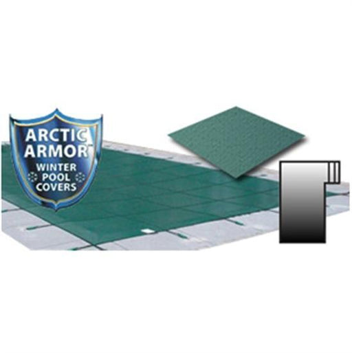 Arctic Armor 25' x 45' Ultra Light Solid Safety Cover w- 4' x 8' Left Step Section - Green-Aqua Supercenter Outlet - Discount Swimming Pool Supplies