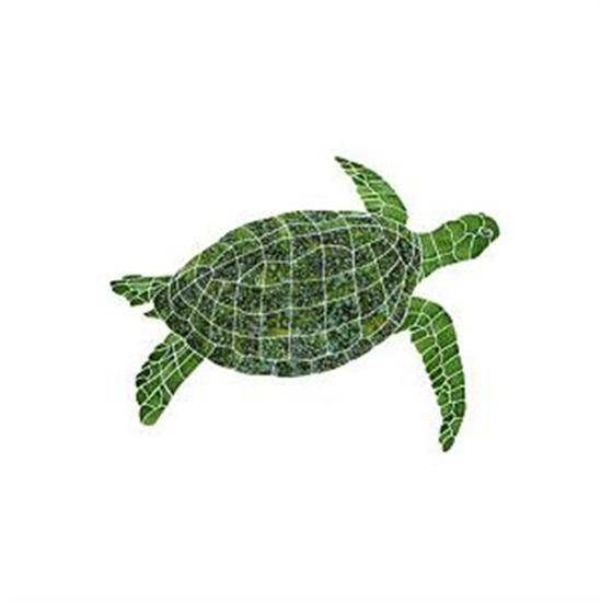 Artistry In Mosaics Aquatic Line Green Sea Turtle Mosaic Tile - Large-Aqua Supercenter Outlet - Discount Swimming Pool Supplies