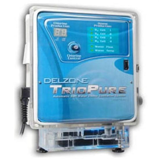 DelZone TrioPure Ozonator w- Salt Chlorine Generator - up to 50,000 Gallons-Aqua Supercenter Outlet - Discount Swimming Pool Supplies