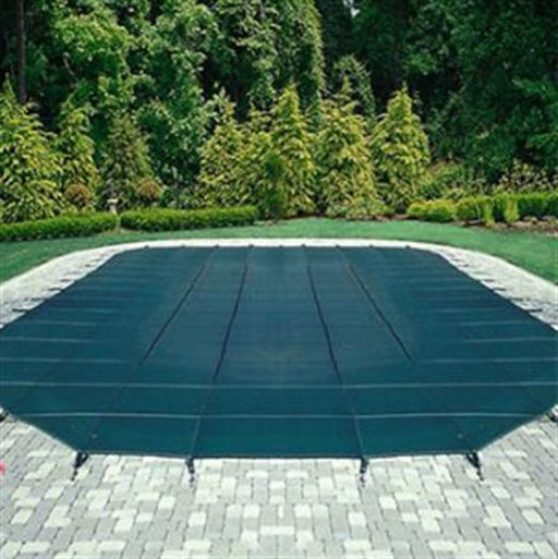 Mesh Safety Pool Cover -Pool Size: 15' x 30' Blue Rectangle Left Step Arctic Armor Silver 12 Yr Warranty-Aqua Supercenter Outlet - Discount Swimming Pool Supplies