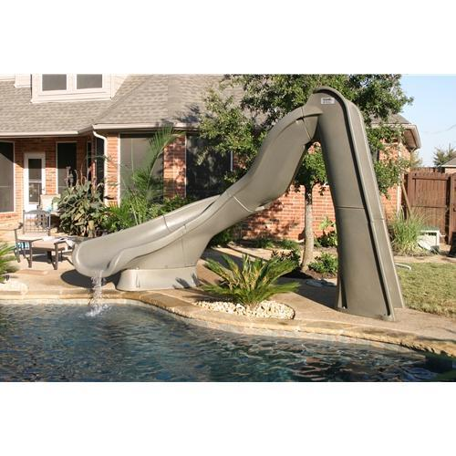 SR Smith Turbo Twister Pool Slide - Left Turn - Gray Granite-Aqua Supercenter Outlet - Discount Swimming Pool Supplies