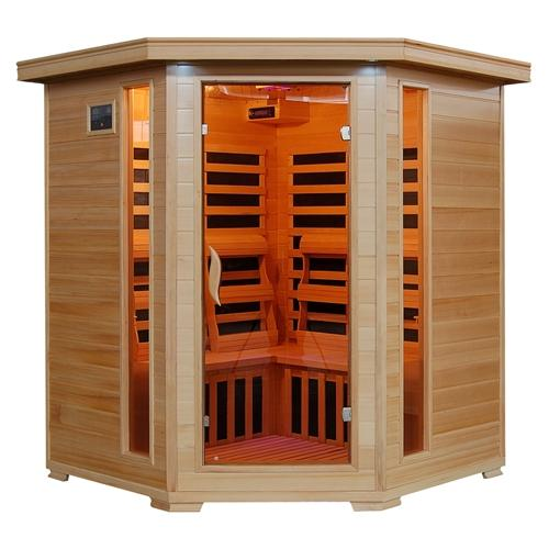 Tucson 4 Person Infrared Corner Heatwave Hemlock Carbon Sauna-Aqua Supercenter Outlet - Discount Swimming Pool Supplies