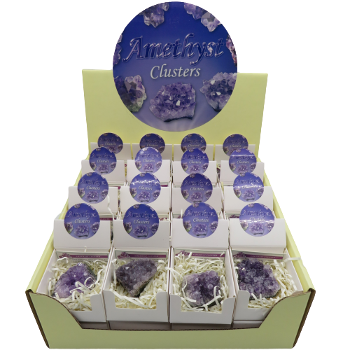 Amethyst Cluster 32 Piece Display Box HWC Australia