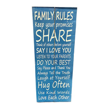 Load image into Gallery viewer, Family Rules Recycled Wood Wall Art