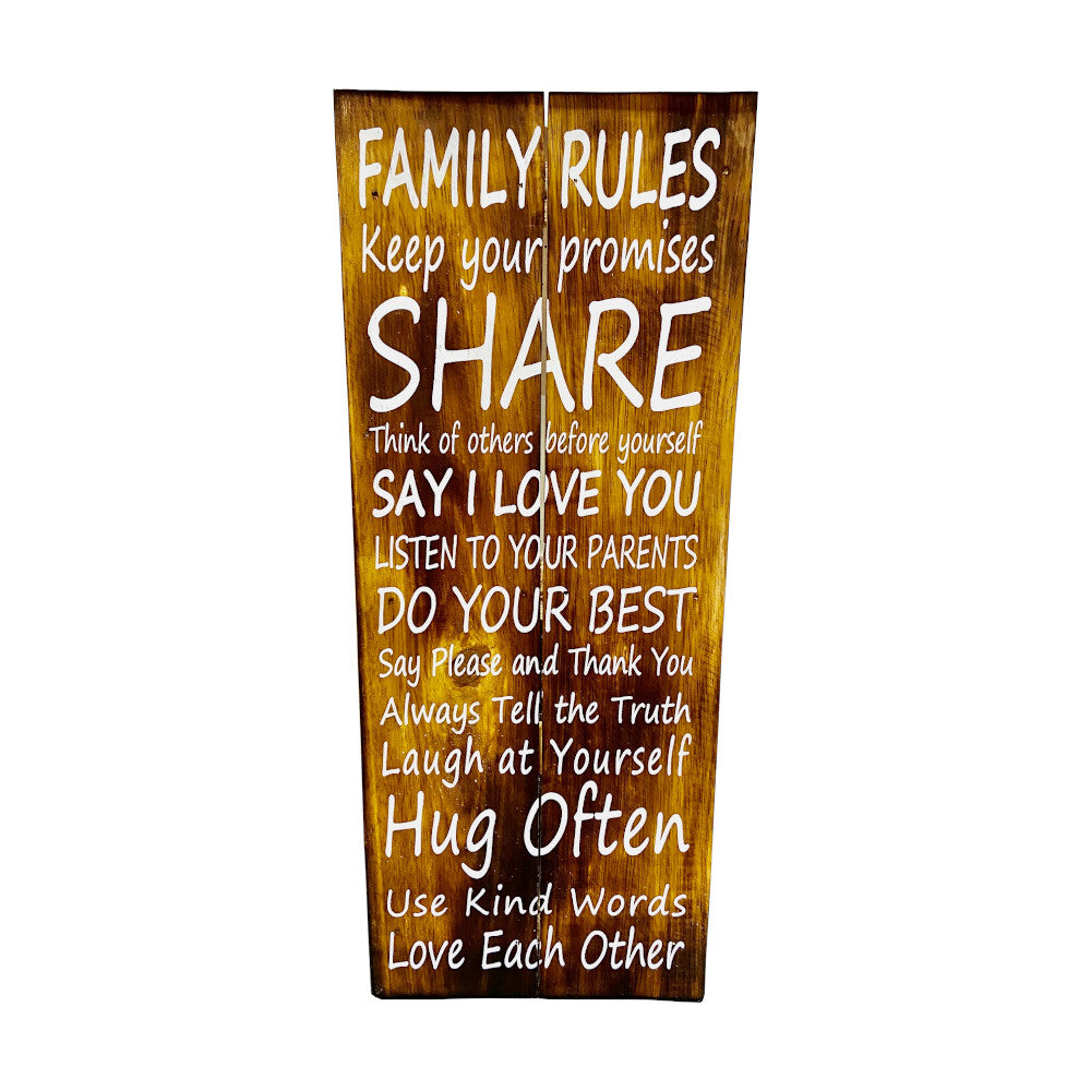 Family Rules Recycled Wood Wall Art