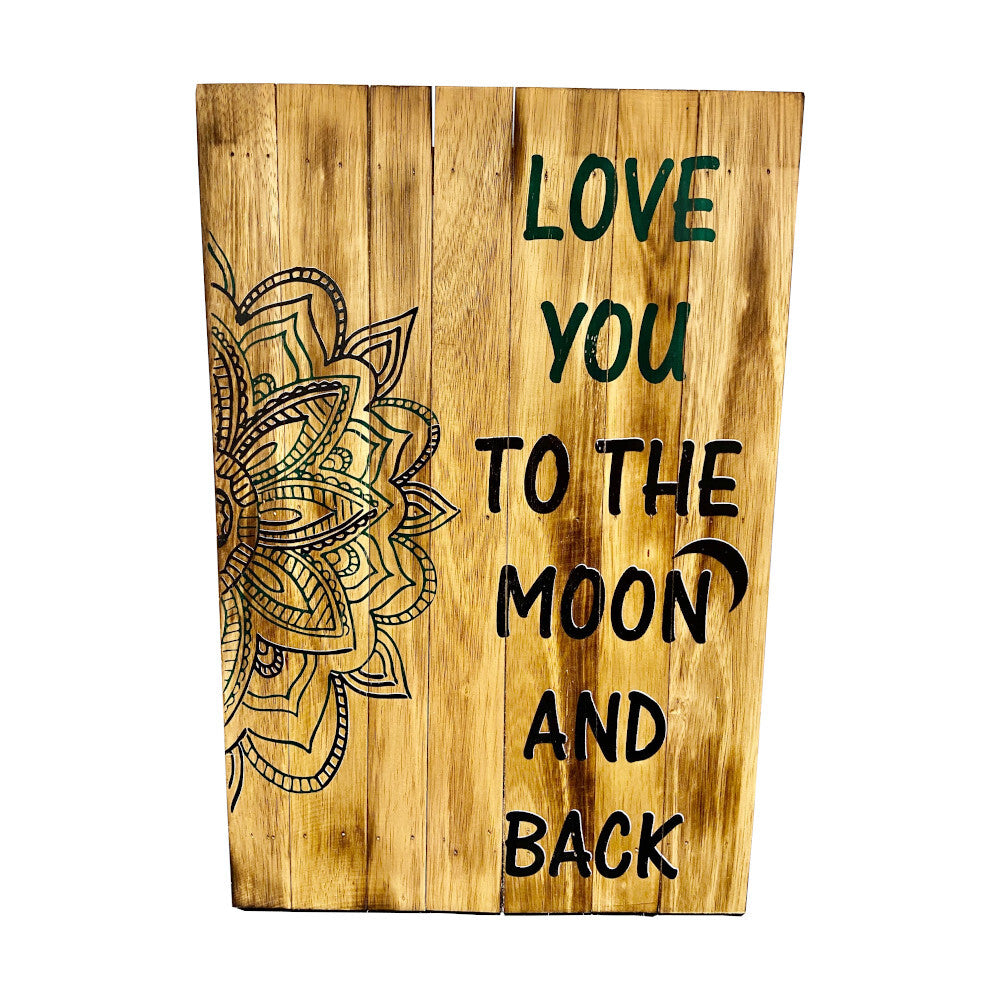 Green & Black Love You to the Moon and Back Recycled Wood Wall Art