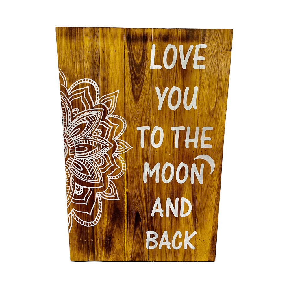 White Love You to the Moon & Back Recycled Wood Wall Art HWC Australia