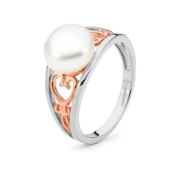 Freshwater Pearl Ring 14ct Rose Gold Plated Sterling Silver