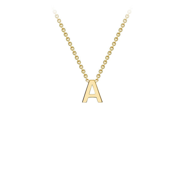 9K Yellow Gold 'A' Initial Adjustable Necklace 38cm/43cm | The Jewellery Boutique Australia