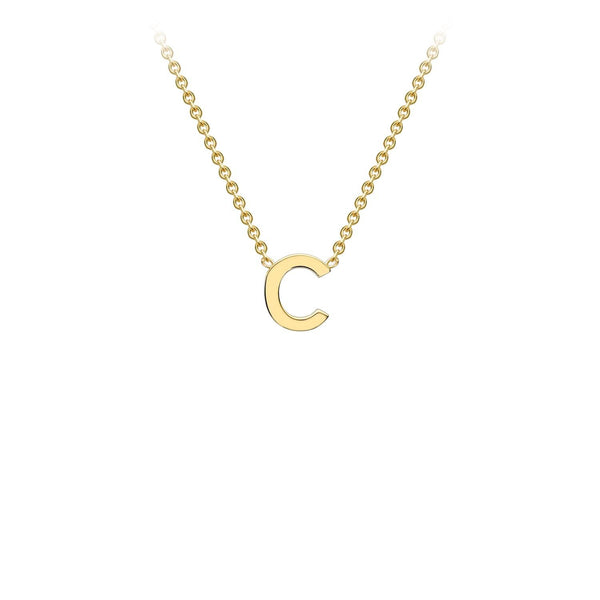 9K Yellow Gold 'C' Initial Adjustable Necklace 38cm/43cm | The Jewellery Boutique Australia