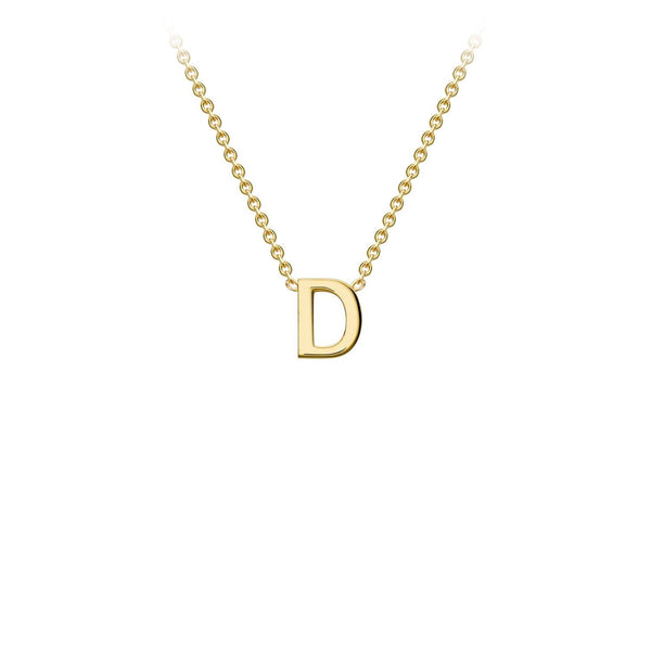 9K Yellow Gold 'D' Initial Adjustable Necklace 38cm/43cm | The Jewellery Boutique Australia