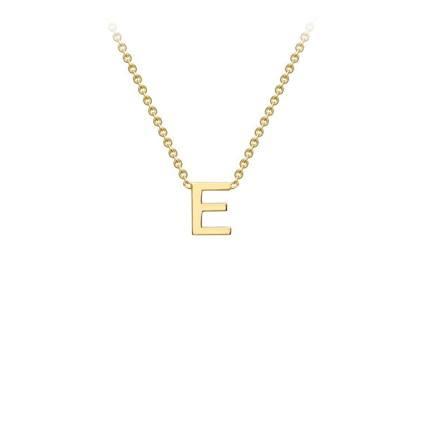 9K Yellow Gold 'E' Initial Adjustable Necklace 38cm/43cm | The Jewellery Boutique Australia