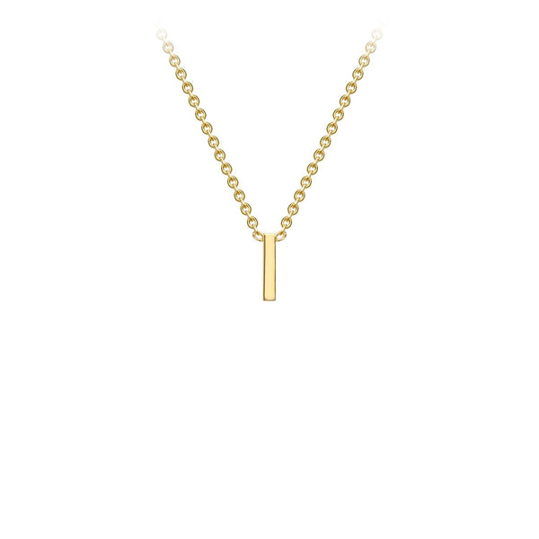 9K Yellow Gold 'I' Initial Adjustable Necklace 38cm/43cm | The Jewellery Boutique Australia