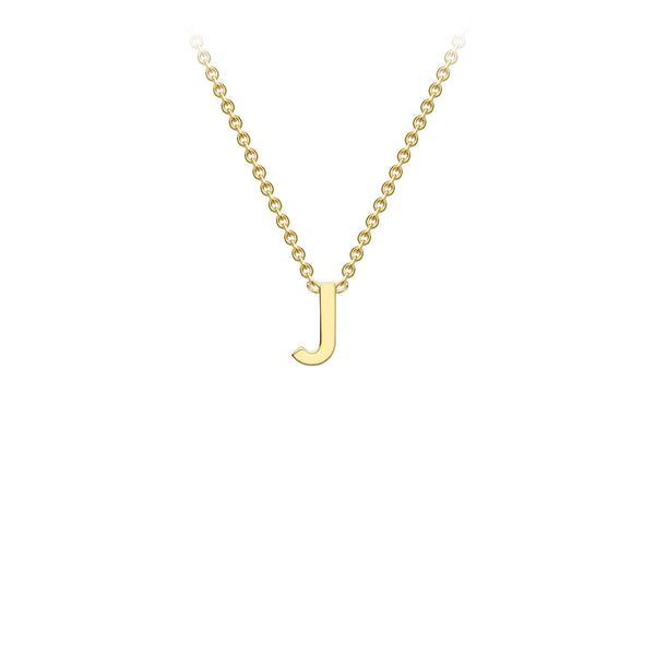 9K Yellow Gold 'J' Initial Adjustable Necklace 38cm/43cm | The Jewellery Boutique Australia