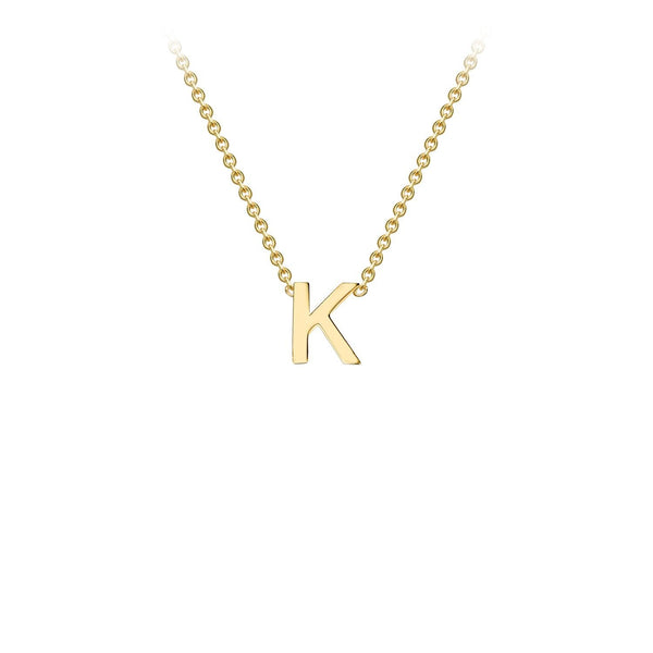 9K Yellow Gold 'K' Initial Adjustable Necklace 38cm/43cm | The Jewellery Boutique Australia