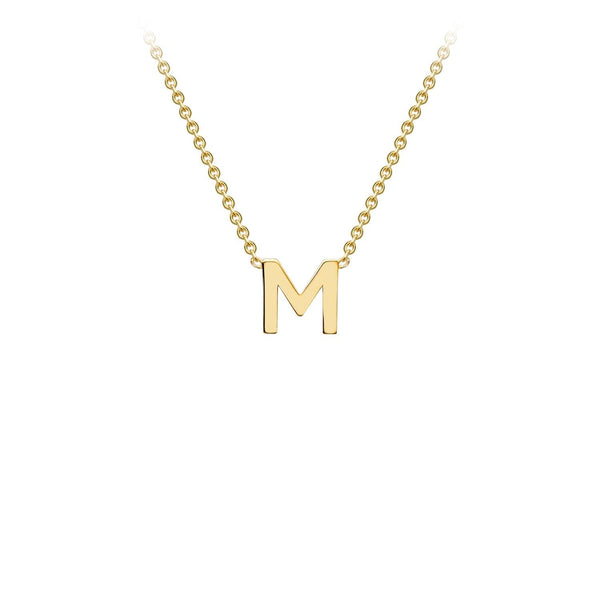9K Yellow Gold 'M' Initial Adjustable Necklace 38cm/43cm | The Jewellery Boutique Australia