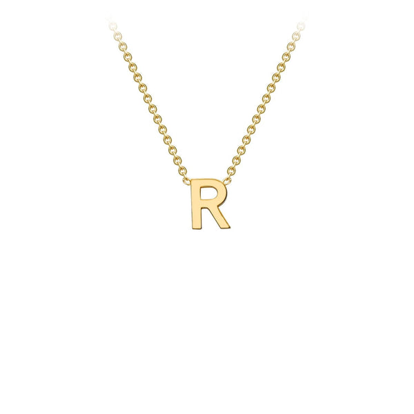 9K Yellow Gold 'R' Initial Adjustable Necklace 38cm/43cm | The Jewellery Boutique Australia