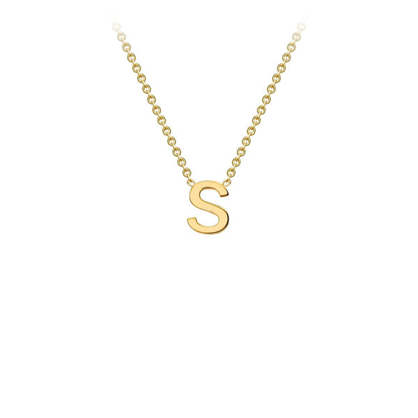 9K Yellow Gold 'S' Initial Adjustable Necklace 38cm/43cm | The Jewellery Boutique Australia