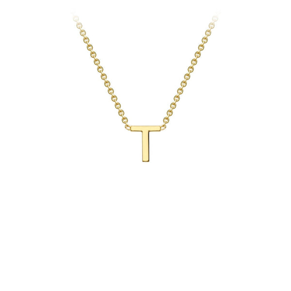 9K Yellow Gold 'T' Initial Adjustable Necklace 38cm/43cm | The Jewellery Boutique Australia
