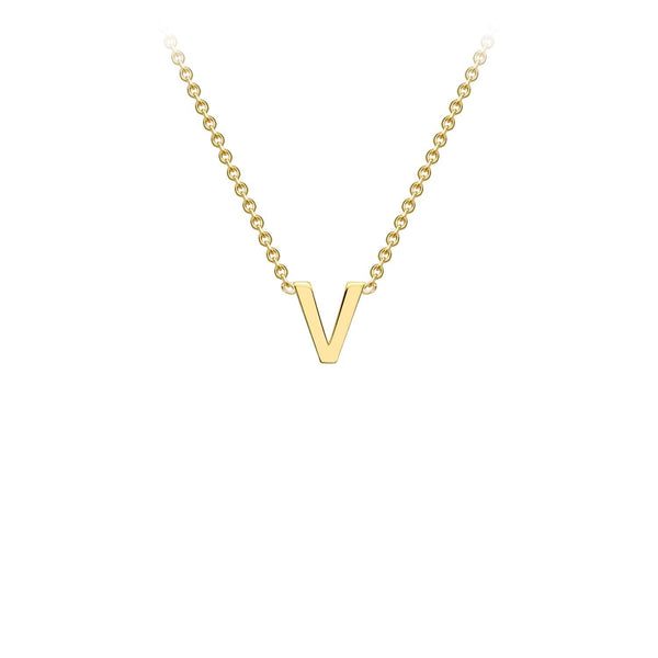 9K Yellow Gold 'V' Initial Adjustable Necklace 38cm/43cm | The Jewellery Boutique Australia
