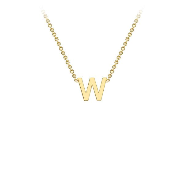 9K Yellow Gold 'W' Initial Adjustable Necklace 38cm/43cm | The Jewellery Boutique Australia
