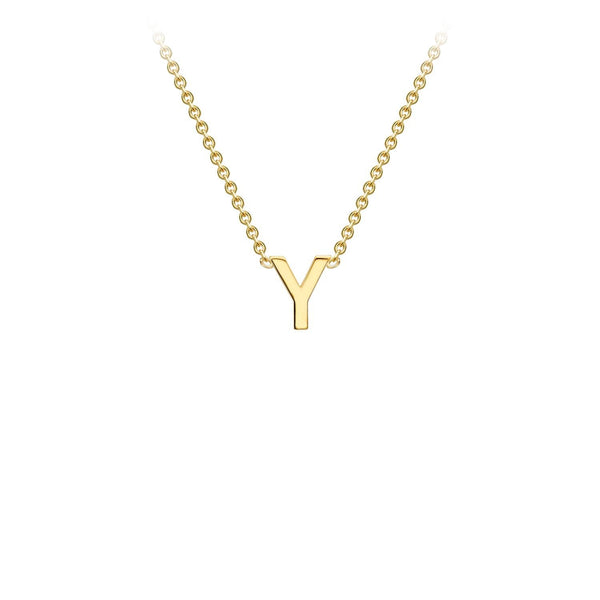 9K Yellow Gold 'Y' Initial Adjustable Necklace 38cm/43cm | The Jewellery Boutique Australia