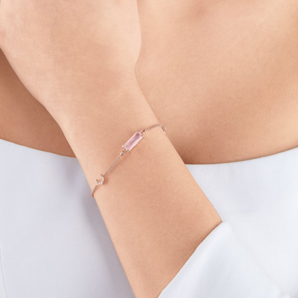 Thomas Sabo Bracelet Pink Stone with Moon & Star Rose Gold