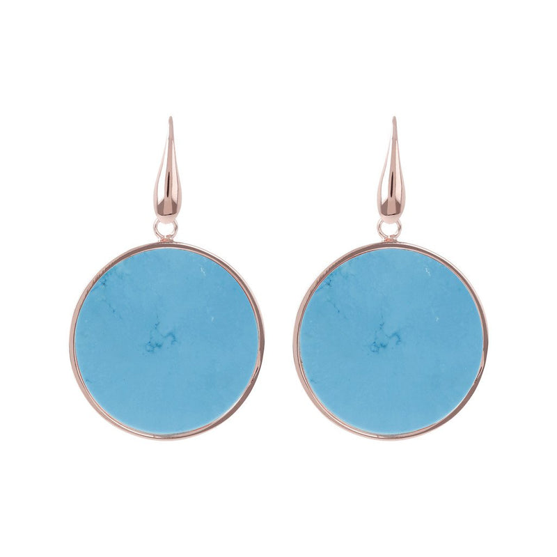 Bronzallure Big Disc Earrings With Natural Stones