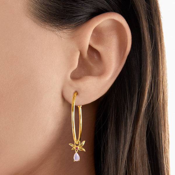 Thomas Sabo Hoop Earrings Flower Gold