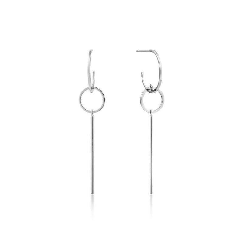 Ania Haie Modern Solid Drop Earrings - Silver