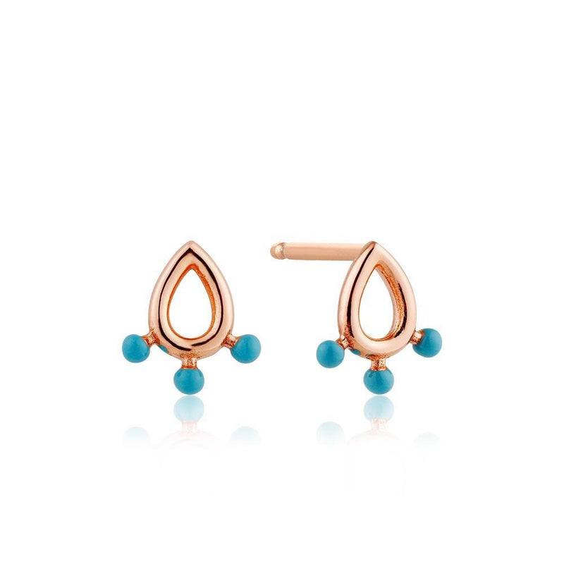 Ania Haie Dotted Raindrop Stud Earrings - Rose Gold
