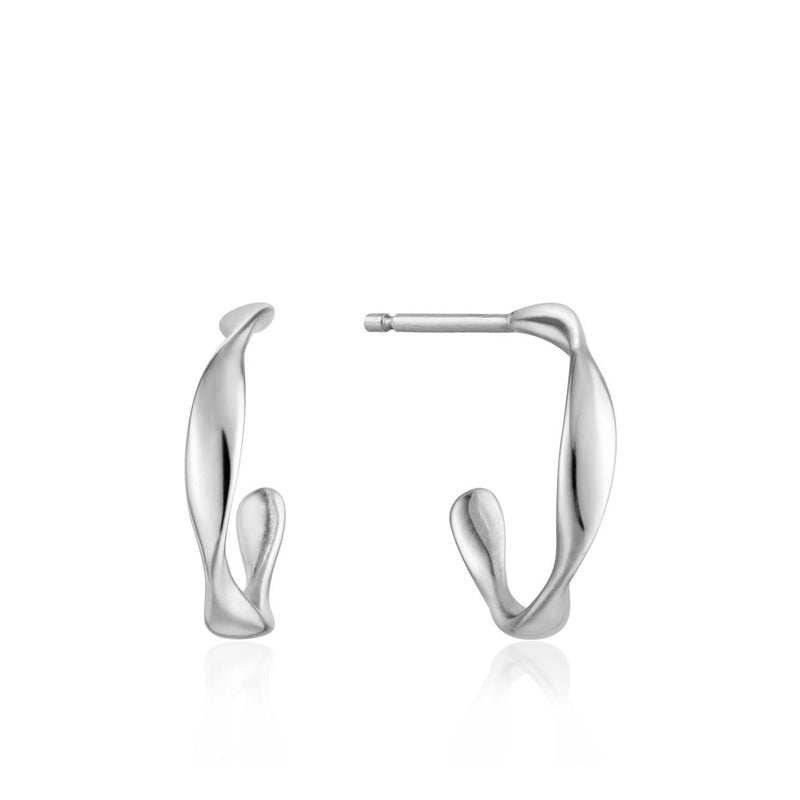 Ania Haie Twist Mini Hoop Earrings - Silver