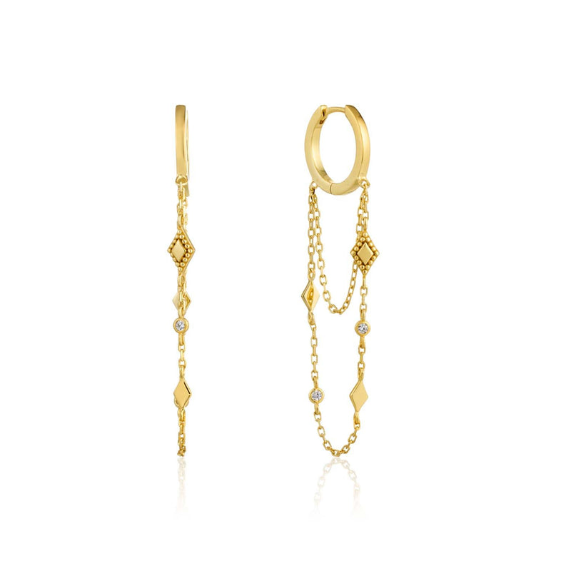 Ania Haie Bohemia Chain Drop Mini Hoops - Gold