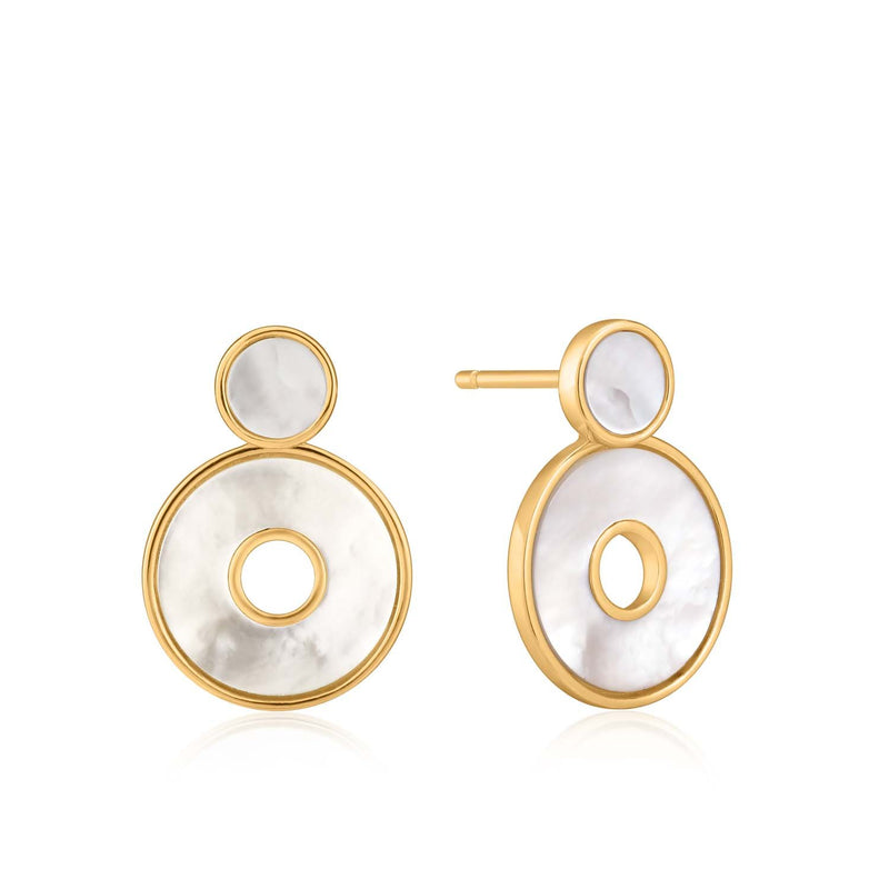 Ania Haie Mother Of Pearl Disc Ear Jackets - Gold