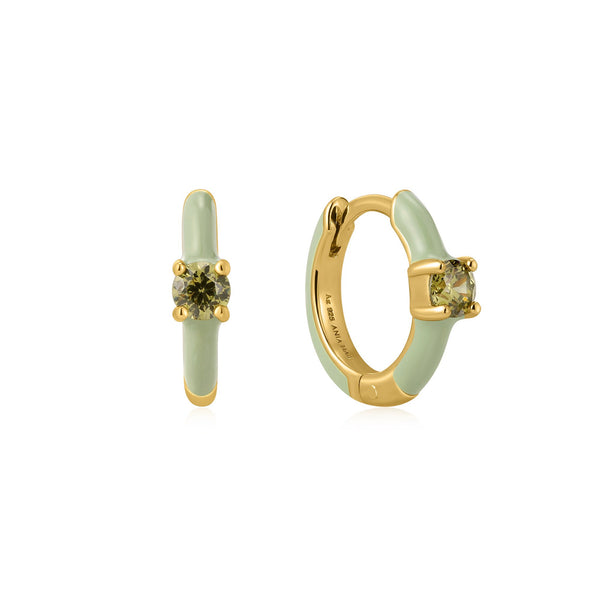 Ania Haie Sage Enamel Gold Huggie Hoop Earrings