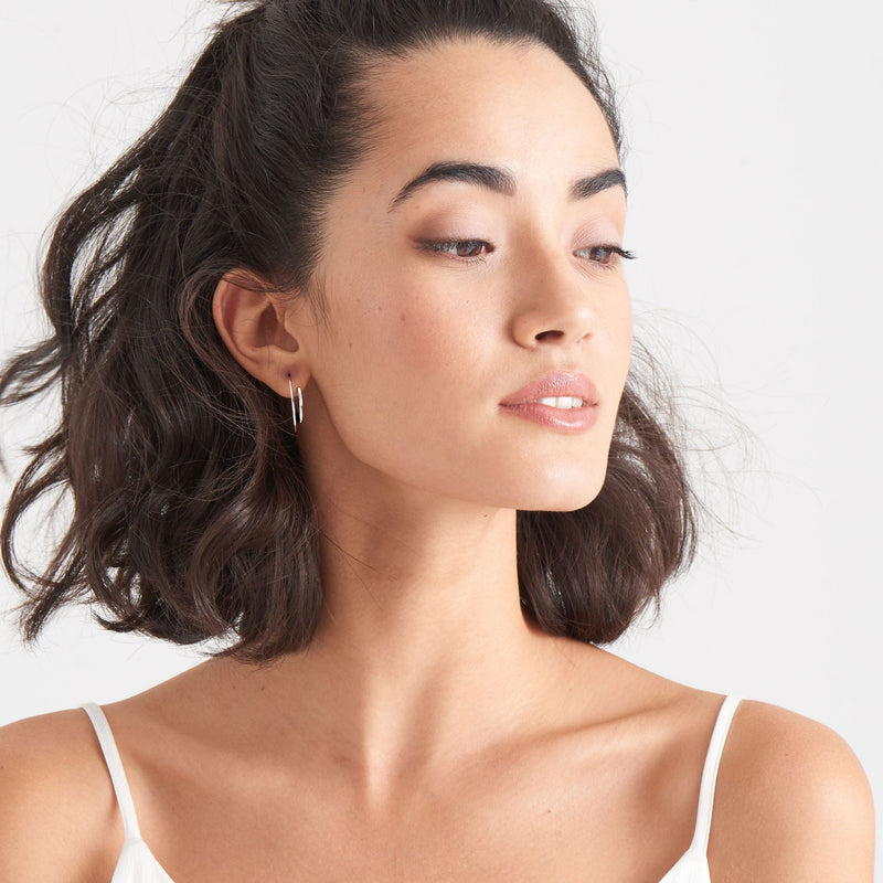 Ania Haie Twist Through Earrings - Silver