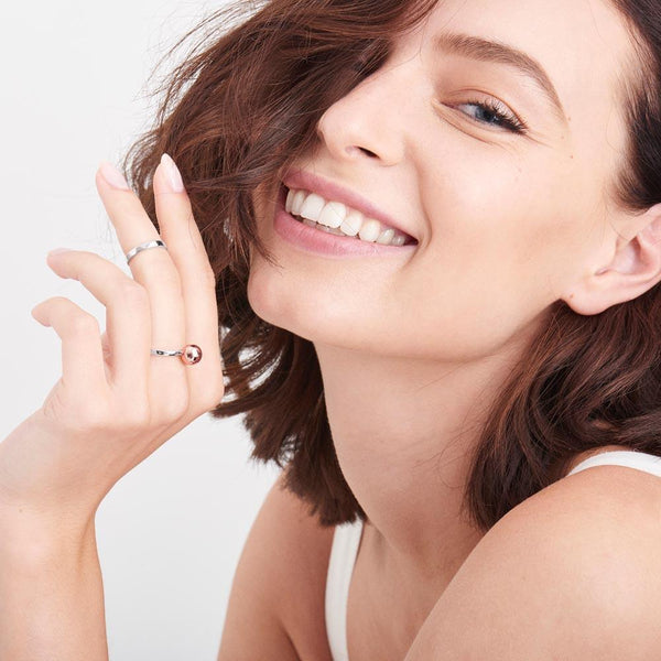 Ania Haie Orbit Double Ring Set - Rhodium With Rose Gold