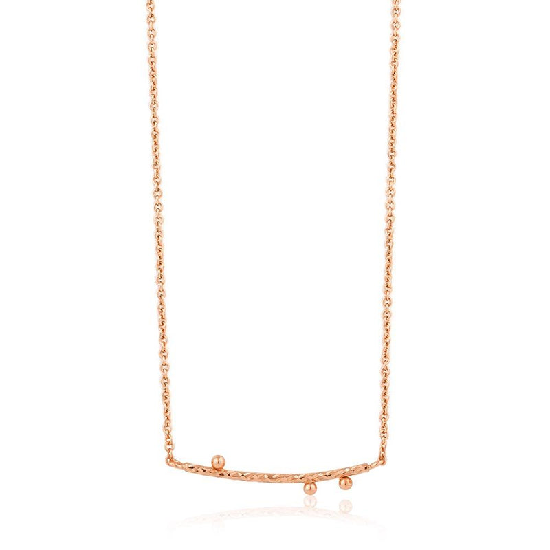 Ania Haie Texture Solid Bar Necklace - Rose Gold