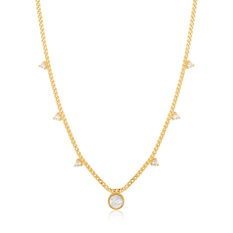 Ania Haie Mother Of Pearl Drop Disc Necklace - Gold