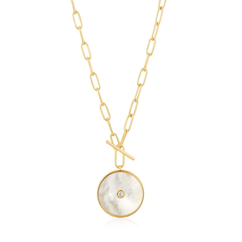 Ania Haie Mother Of Pearl T-Bar Necklace - Gold