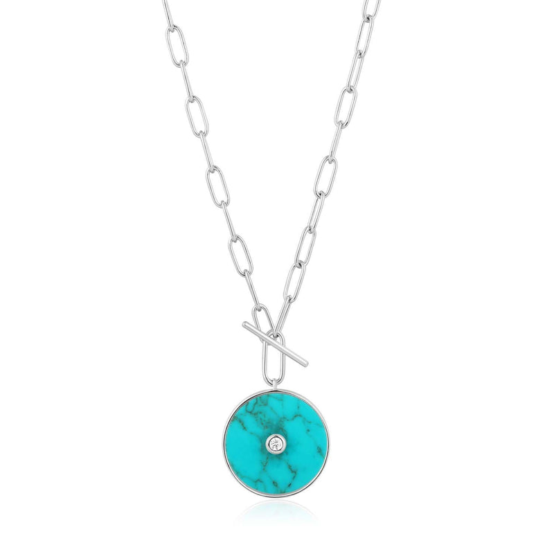 Ania Haie Turquoise T-Bar Necklace - Silver