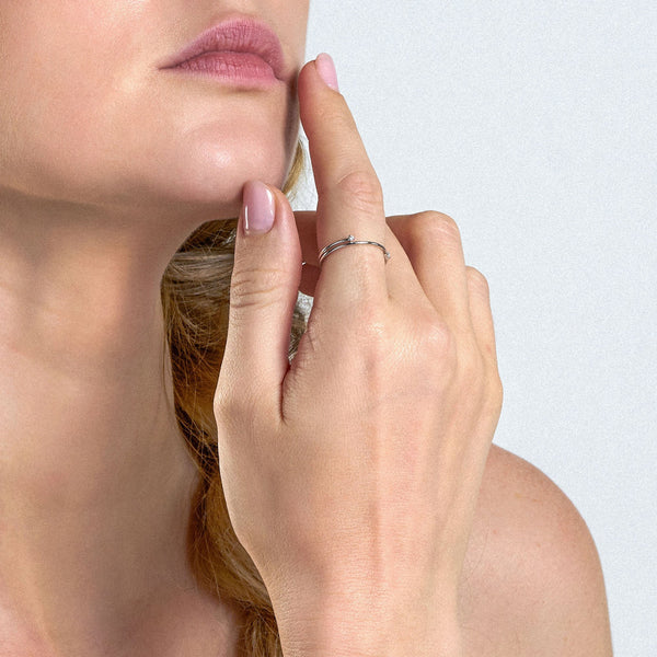 Ania Haie Shimmer Double Ring - Silver