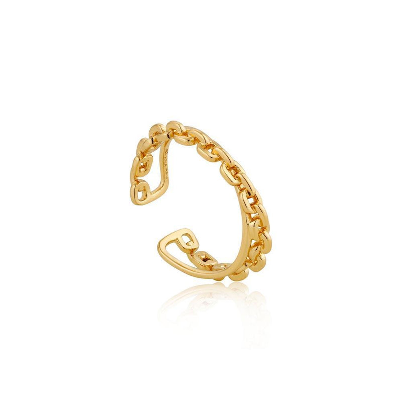 Ania Haie Chain Double Crossover Ring - Gold