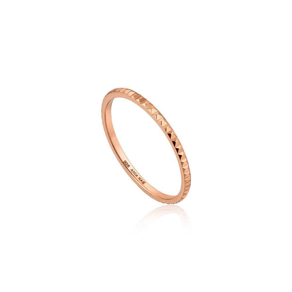 Ania Haie Texture Band Ring - Rose Gold