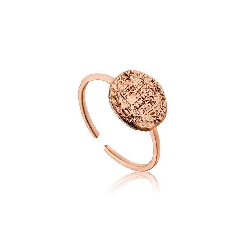 Ania Haie Emblem Adjustable Ring - Rose Gold