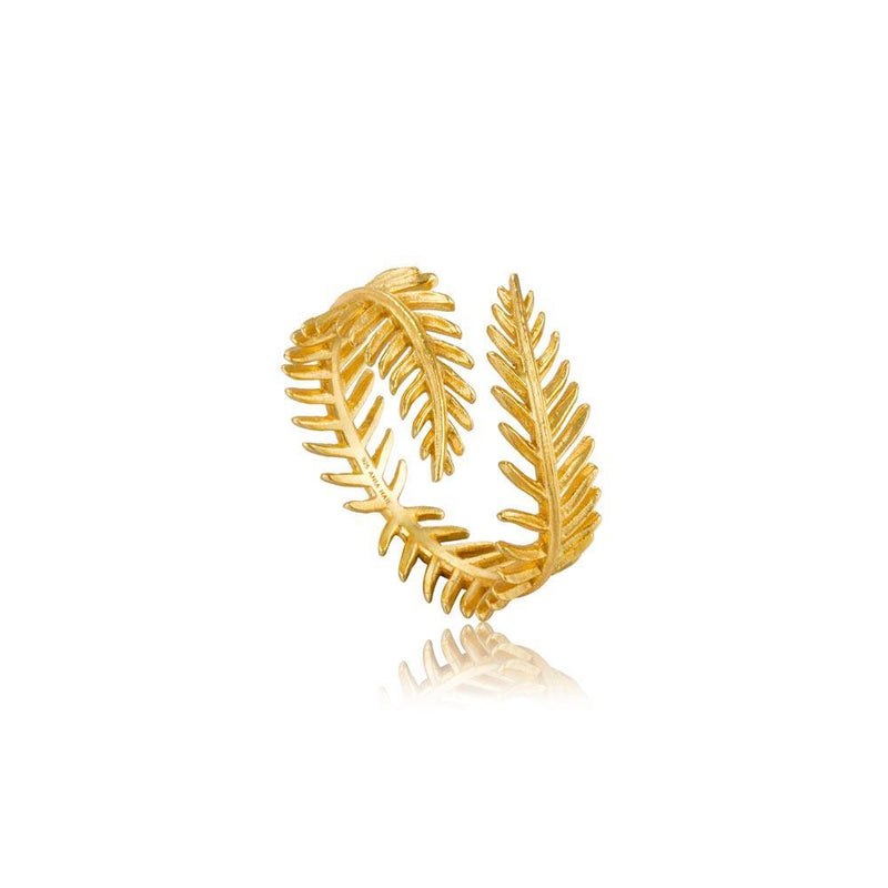 Ania Haie Palm Leaf Adjustable Ring - Gold