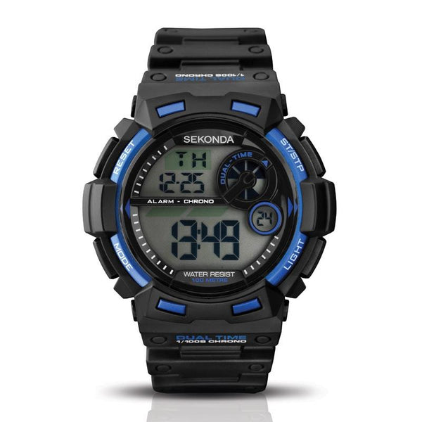 Sekonda Digital Chrono Black/Blue 100M Water Resistant Watch