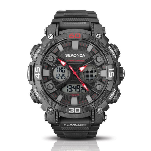 Sekonda Analogue Digital Grey/Red 100M Water Resistant Watch